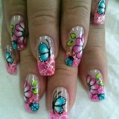 Wow Nails, French Manicure Nails, French Tip Nails, Cute Nails, Pretty Nails, Pedicure Designs, Nail Art Designs, Rainbow Nail Art, Butterfly Nail Art