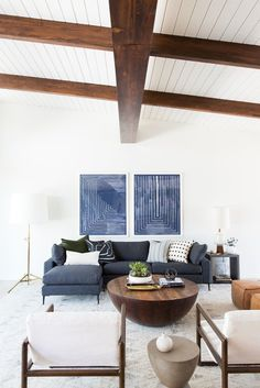 Mid-Century Modern living room with exposed wood ceiling