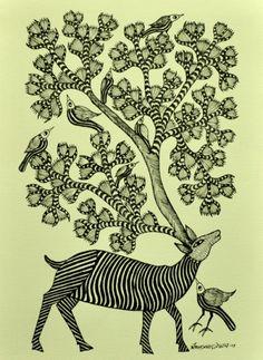 Gond,Indiacraft,Gond painting on Paper Unframed W- India Crafts, Madhubani Art, Indian Folk Art, Madhubani Painting, Abstract Animals, India Art, Indian Paintings, Animal Tattoos, Tribal Art