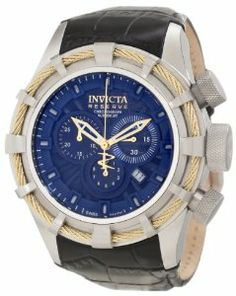 Invicta Men's 11045 Bolt Reserve Chronograph Royal Blue Textured Dial Watch Invicta. $484.78. Royal blue textured dial with gold tone hands and blue markers; luminous; stainless steel bezel with gold tone twisted wire accent. Swiss quartz movement. Flame-fusion crystal; stainless steel case; black leather strap. Water-resistant to 200 M (660 feet). Chronograph functions with 60 second, 30 minute and 1/10 second subdials; date function