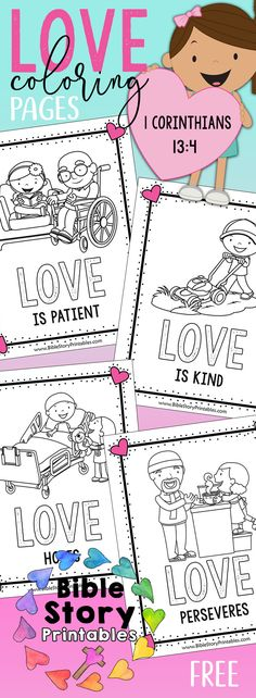 Free Valentine's Day Bible Coloring Book! Free Valentine's Day Bible Printables for Kids! Jesus Loves Me Bible Coloring Pages, Love is Patient, Love is Kind Coloring Book and Bible Minibook. FREE via @craftyclassroom