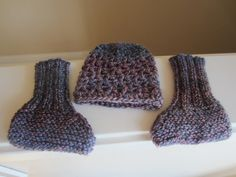 Baby Beanie Hat & Baby Sock Set, Newborn Sizing, Knit Socks and Crocheted Hat, Multi Colored, Soft Wool Blend, Baby Shower Gift by TooCozy on Etsy