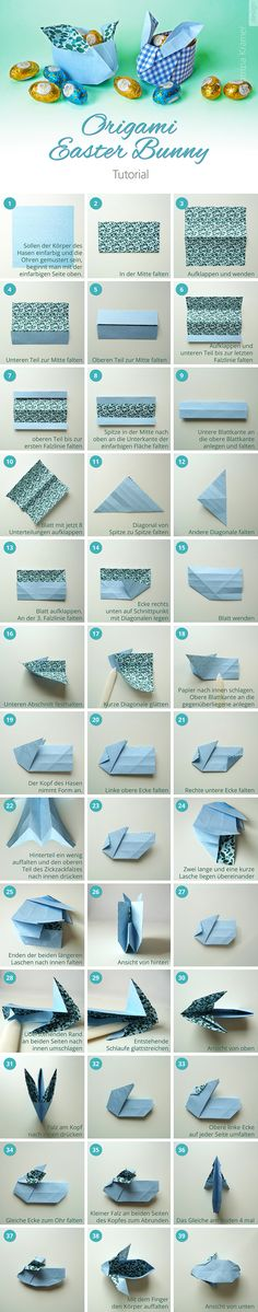 Best Unique Gifts And Gift Ideas For Rabbit Lovers And Bunny Owners Origami Easter Bunny Tutorial. Bunny Origami, Origami Diy, Origami Lotus Flower, Cute Origami, How To Make Origami, Useful Origami, Origami Box Tutorial, Origami Instructions, Origami Design