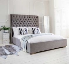 The French Bedroom Company Blog, showing how to get the look from our Studs & Button upholstered grey bed photo shoot. Our French Tufted Bed in a grey bedroom with white floors and modern style. Collage and mood board