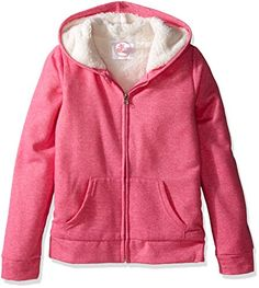 Dream Star Girls' Big Girls' Marled Fleece Zip up Hoodie with Sherpa Lined Body and Hood, Fandango Pink, M/ 10-12 * For more information, visit image link.