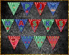 PJ Masks Banner Pj Mask, Etsy Store, Banners, Vibrant Colors, Card Stock, Masks, My Design, Banner, Cartonnage
