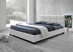 Baxton Studio Vivaldi Modern and Contemporary White Faux Leather Padded Platform Base Queen Size Bed Frame *** Read more  at the image link.