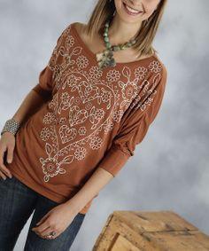 Copper & White Heart Three-Quarter Sleeve Top - Women