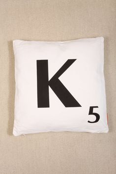 K Scrabble Cushion at Urban Outfitters