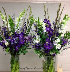 Large arrangements with purple glads. by Rose of Sharon-Event Florist, via Flickr
