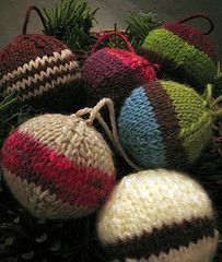 """Pattern description from Handknit Holidays: """"The tradition of decorating a tree for Christmas is universal, though every culture has its own twist. In Scandinavia, ornaments may be woven from straw; Eastern Europe is famous for handpainted eggs; and those in Japan who decorate Christmas trees do so with tiny fans, paper lanterns, and origami swans. Here, Leigh Radford uses wool. In one version, her ornaments are simple balls knit in solid colors or stripes. In the other, colored fleece is…"""