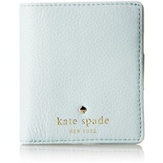 A petite Kate Spade New York wallet in saffiano leather.  Logo lettering accents the front.  A snap fastens the interior, which has 6 card slots, a cash pocket…