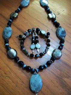 Labradorite Necklace Earrings Bracelet Set with by Dare2beUNIQUE