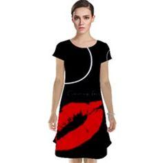 Funny Black White Red Cap Sleeve Nightdress