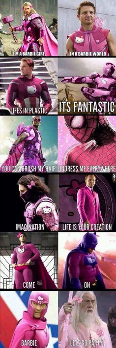 Marvel jokes - I'm a barbie girl memes humour fun barbie Avengers Humor, Marvel Jokes, Ms Marvel, Funny Marvel Memes, Dc Memes, Funny Comics, Memes Humour, Movie Memes, Really Funny Memes