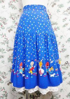 "Vintage Skirt ""Tirol""〜ブルー&カラフル×Boy&Girl×フラワー〜"