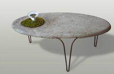 Table: 120x50x45, concrete, roksor, moss, glass