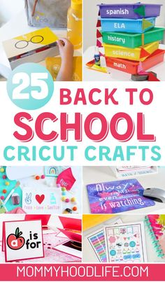 Fun and Unique ways to make back to school and homeschooling creative and organized with these cricut crafts.  #CricutCreated #CricutCrafts #Homeschool #backtoschool Back To School Crafts For Kids, Back To School Hacks, School Tips, School Stuff, School Ideas, Craft Activities For Kids, Learning Activities, Preschool Activities, Bonding Activities