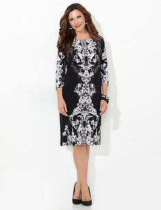 Our scrolling shift dress is a great go-to piece for any season. The layered scroll print is a timeless design that flatters your figure. Scoop neckline. Three-quarter sleeves. Print flows to back. Catherines dresses are expertly designed for the plus size woman. catherines.com