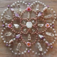 Flower Mandala with quartz