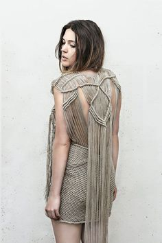 Modern Macrame Dress with fringe back detail - constructed textiles design using knots; fabric manipulation // Lena Kilkovick by reva
