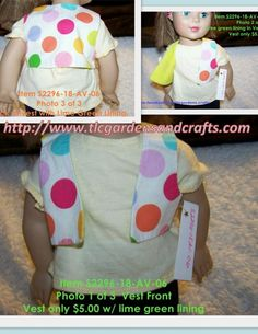 Colorful Polka Dots Vest with Lime Green Lining for 18 inch / AG doll Item S-2296-18-AV-06