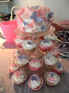 Cake and cupcakes at a Butterfly Bridal Shower #butterfly #bridalshower