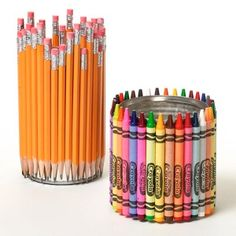 "Making these for teacher's gifts...filled with new crayons and pencils for the classroom.  A great way to ""deliver"" those school supplies when school starts.  They can reuse for anything!!"