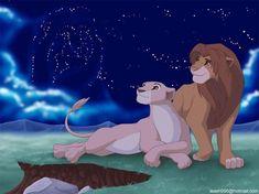 Cool Night- Simba and Nala and the stars of Mufasa Lion King Series, Lion King Story, Lion King 3, The Lion King 1994, Lion King Fan Art, Simba Y Nala, King Simba, Simba Disney, Disney Lion King