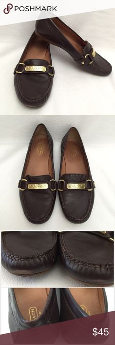 Coach Felicia Nubuck Driving Loafers •Chestnut brown leather moccasins •Nubuck leather upper •Signature metal hardware on vamp •Leather lining •1/2 inch sole - man-made outsole lends lasting traction and wear •Worn a few times, has some wear on the edge of the toe and the back  (see photos) but not majorly noticeable •Comes with box •Trades •Paypal •All REASONABLE offers will be considered  Bundle and save  Coach Shoes Flats & Loafers
