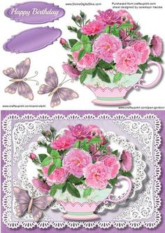 Lovely Lace and a Cup of Pink Peonies  on Craftsuprint - Add To Basket!