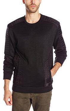 Calvin Klein Jeans Men's Quilt Crew Zip Sweatshirt, Black, XX-Large ❤ Calvin Klein Jeans Men's Collection