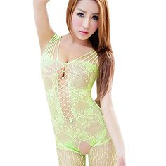 SusenstoneWoman Open Crotch Mesh Fishnet Bodystocking Stocking Lingerie Green >>> Check out this great product.