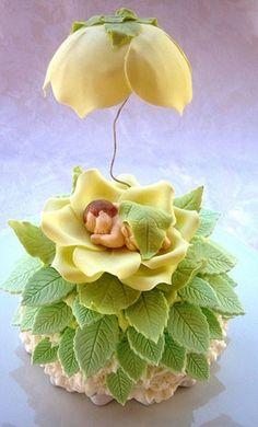 Baby cupcake by Babycakes Cupcakes Baby Cupcake, Cupcake Art, Fondant Baby, Fondant Cakes, Cupcake Cakes, Fondant Rose, 3d Cakes, Fondant Flowers, Mini Cakes