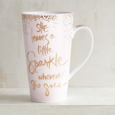 Pier 1 Imports She Leaves A Little Sparkle Mug ($8.95) ❤ liked on Polyvore featuring home, kitchen & dining, drinkware, pink, porcelain mugs, pink mug, quote mugs and pier 1 imports