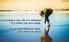 Everything in your life is a reflection of a choice you have made. If you want different result, make different choice.