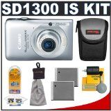 Canon PowerShot SD1300 IS Digital ELPH Camera (Silver) + Batteries + Case + Accessory Kit (Electronics)  http://lb-01tablet.com