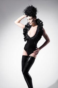 6e1abb038e Latex Bodysuit Black Standing Collar Bodysuit deep neckline front zipper  lingerie