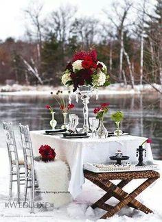 Outside dinner table set