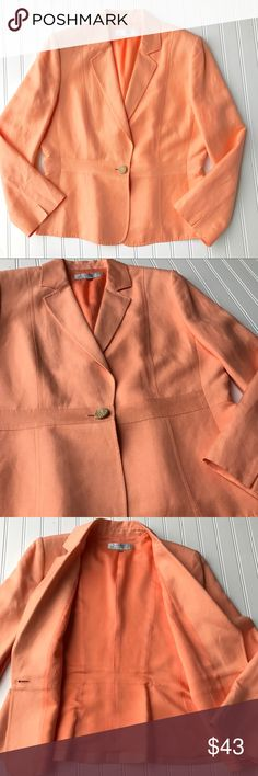 Tahari Linen Spring Blazer, Peach Orange, Size 14 Stunning Spring Tahari Linen Blazer. Lightweight and lined. This is my favorite color!! It's a peach orange! Closes with a unique button. Slits in cuffs flattering. You'll be ready for Spring with this blazer💗 Linen Rayon Blend. Size 14 In great condition! Check out my other listings for a bundle deal! Tahari Jackets & Coats Blazers