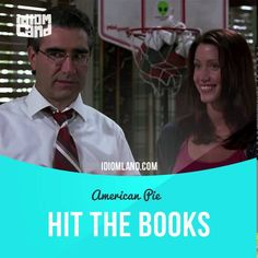 """Hit the books"" means ""to study hard"".  Text in the clip from ""American Pie"": - Ready to study? - Oh, he's always ready to study. He's a real bookworm, this kid. - Dad. - That means... He's not not one of those nerdy guys but... - Dad! - Well, I'll... I'll let you two hit the books.  #idiom #idioms #slang #saying #sayings #phrase #phrases #expression #expressions #english #englishlanguage #learnenglish #studyenglish #language #vocabulary #efl #esl #tesl #tefl #toefl #ielts #toeic…"
