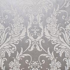 Barok behang Wit/Zilver