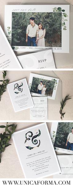 modern grey and black ampersand wedding invitation, greenery wedding, grey and greenery, black and greenery wedding, custom wedding invitations, save the dates, rustic wedding, ampersand invitations