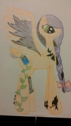 This is my newest oc Fantain. She is half deer and half pegasus. Each one  of her tattoos represent a fandom that i am in. On her back left leg it is the Avengers logo, on her left front leg she has a trident for the Percy Jackson books, on her right front leg it is a mocking jay for the Hunger Games, on her neck she has 3 ravens for the Divergent books, her cutie mark and her bow for Doctor Who, and her colors ( orange and purple ) for The Heros of Olympus. The leafs on her right back leg…