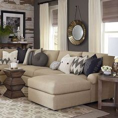 Furniture: Cozy Beige Couch Design For Classic Living Room . Yellow Sofa: A Sunshine Piece For Your Living Room! Ivory And Gray Living Room Color Scheme Transitional . Home and Family Beige Sofa Living Room, Cozy Living Rooms, New Living Room, Home And Living, Small Living, Beige Couch Decor, Modern Living, Beige Sectional, Sectional Sofas