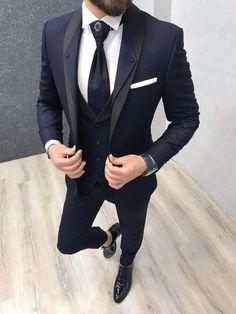 Lazio Navy Tuxedo Suit is part of Navy tuxedos - Size EU material Viscose, PolyesterMachine washable NoFitting Regular SlimfitRemarks Dry Cleaning Only Season 2019 Spring Wedding Season Dark Navy Suit, Black Suit Men, Blue Suits, Blue Suit Black Tie, Terno Slim Fit, Slim Fit Suits, Navy Tuxedos, Dress Suits For Men, Mens 3 Piece Suits