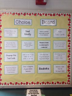 Choice/Challenge board Give your early finishers choices, not just more work 5th Grade Classroom, Future Classroom, School Classroom, Physics Classroom, Autism Classroom, Primary Classroom, Anchor Activities, Classroom Activities, Classroom Ideas