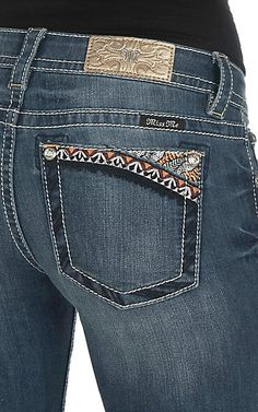 Miss Me Women's Faded Dark Wash with Zig Zag Stitches Open Back Pocket Boot Cut Jeans | Cavender's