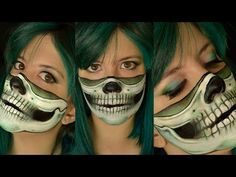 The unusual is usual on this channel. Dramatical, edgy, colorful and mostly Halloween looks are more likely to be found here. I enjoy music and I love to edi. Mask Makeup, Costume Makeup, Halloween Looks, Halloween Face Makeup, Halloween Ideas, Half Skull Face, Cool Face Paint, Character Makeup, Fantasy Makeup