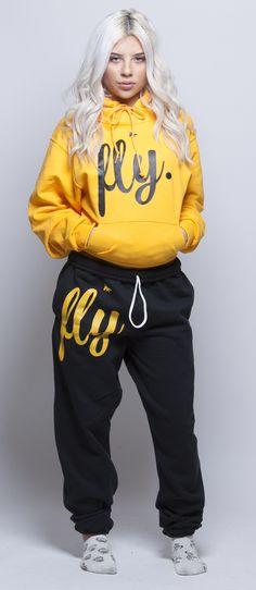 FLY. Gold Hoodie/Black Pants Sweatsuit (UNISEX FIT)